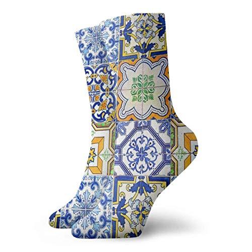 Azulejo - Calcetines de patrón morisco portugués para mujer, calcetines divertidos 30 cm