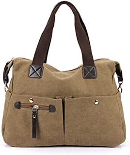 WOYAOFA Nylon Canvas Hand Shoulder Shoulder Messenger Bag Nylon Cloth Material 34 × 30 × 15cm Waterproof and Wearable (Color : Brown)
