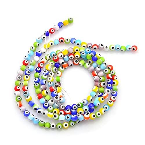 Craftdady Acerca de 480 piezas hechas a mano Lampwork cuentas de ojo hebras 4 mm Pony Mini bola redonda espaciadores de cristal encantos para joyas, pulseras, pendientes, manualidades