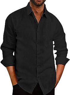 Sponsored Ad - Rela Bota Mens Fashion Cotton Linen Shirts Casual Button Down Lapel Long Sleeve Loose Fit Lightweight Shirts