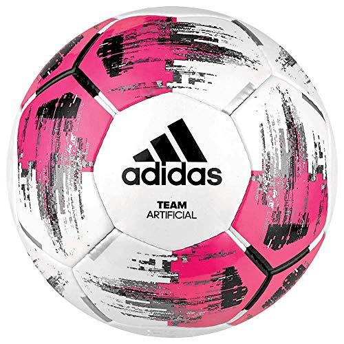 adidas Team Artificial Fußball, White/Shock Pink/Black/Silver Metallic, 5