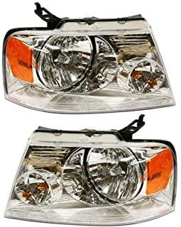Headlight Assembly Compatible with 2004-2008 Ford F150 with Chrome Trim New Body Style Passenger and Driver Side