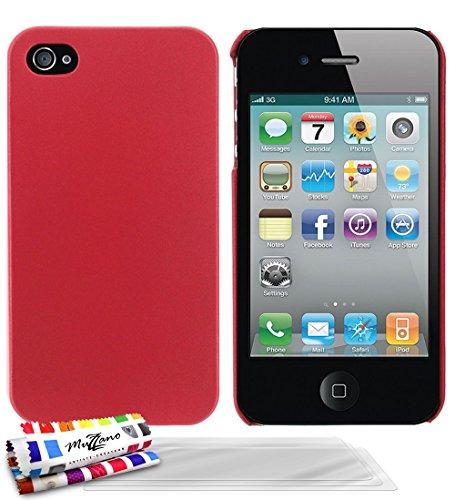 Muzzano F1409508 - Funda para Apple iPhone 4 / 4S + 3 protecciones de pantalla, color rojo