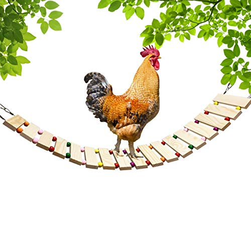 Vehomy Chicken Coop Toy Chicken Toys for Hens Natural Wood Chicken Ladder Chicken Swing Chicken Perch for Birds Poultry Rooster Chicks S
