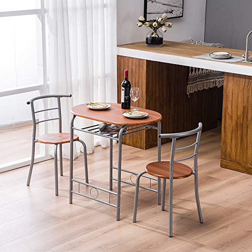 SSLine Compact 3 Piece Dining Set Kitchen Dining Table with 2 Chairs Small Breakfast Nook Bistro Pub Table with Wine Rack Modern Dining Room Space Saver Table Chair Set for Apartment Dorm