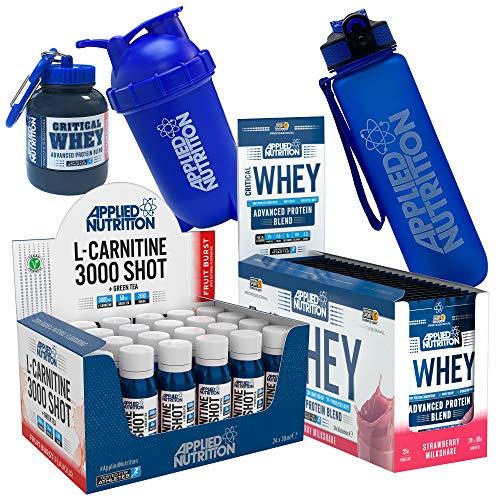 Applied Nutrition Gym Bundle: L Carnitine Liquid Shot Fruit Burst 24 x 38ml + Critical Whey Sachet Box 24 x 30g + 500ml Bullet Shaker + Lifestyle Water Bottle + Critical Whey Funnel (Whey Strawberry)