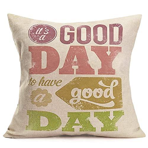 375 Fundas de almohada decorativas de lino y algodón con citas inspiradoras, fundas de almohada decorativas para el hogar, oficina, algodón, 45,7 x 45,7 cm