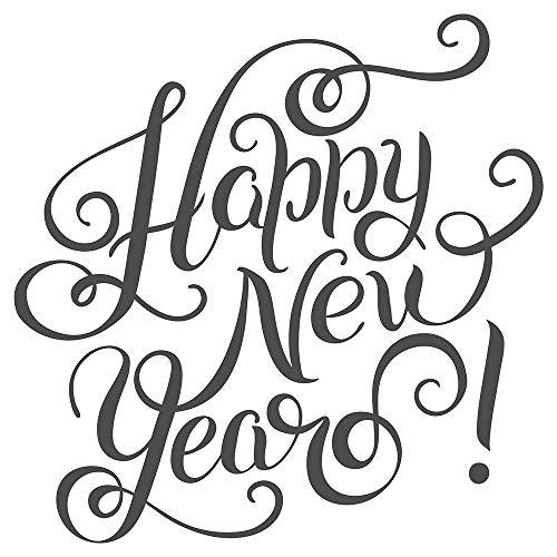 Wandtattoo Spruch Happy new year auf Englisch Silvester Deko Wandaufkleber