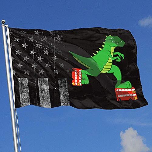 Elaine-Shop Outdoor Flags Abgenutzte USA Flagge Dinosaurier Reiten Rollschuhe 4 * 6 Ft Flagge für Wohnkultur Sport Fan Fußball Basketball Baseball Hockey