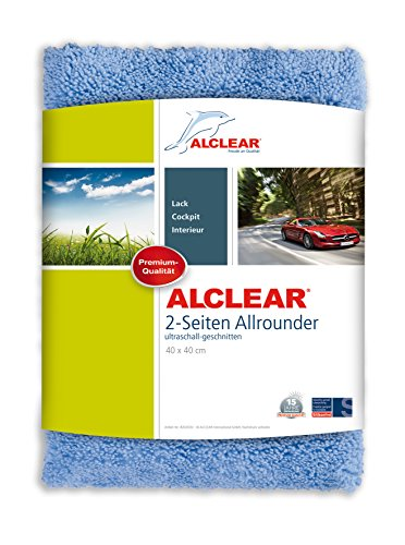 ALCLEAR Microfaser Auto Poliertuch 2-Seiten-Allrounder, auch für Motorrad, Poliermaschine, Lackpolitur, Detailing Mikrofasertuch, 40x40 cm blau