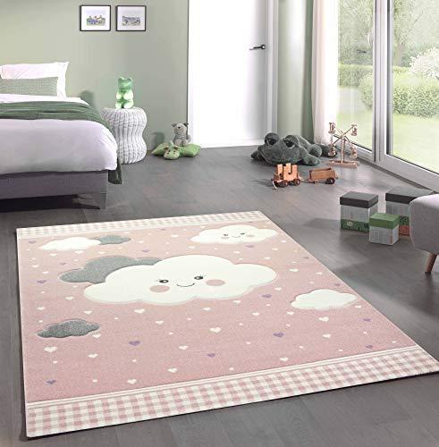 Merinos Kinderteppich Spielteppich mit Wolken in Rosa Größe 160x230 cm
