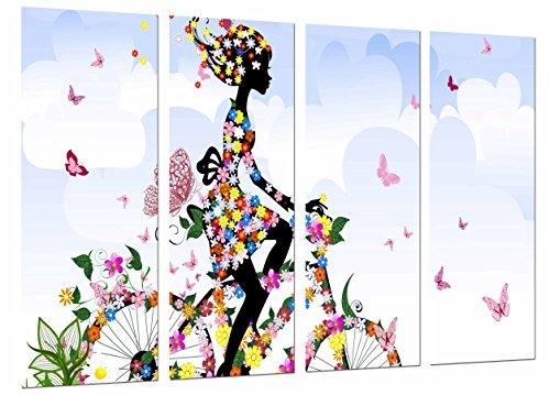 Cuadro Fotográfico Primavera Chica Mujer Bici Flores, Mariposas Naturaleza Tamaño total: 131 x 62 cm XXL