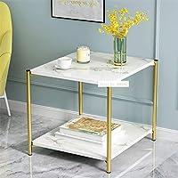 ZUQIEE H88小型ラウンドLRUN茶テーブルシンプルモダンクリエイティブダブルレイヤーソファサイドテーブルリビングルーム小貯蔵スクエアコーヒーテーブル (Color : Square warm white)