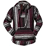 Authentic Mexican Baja Hoodie - Woven Pullover Sweater Jacket Black Red