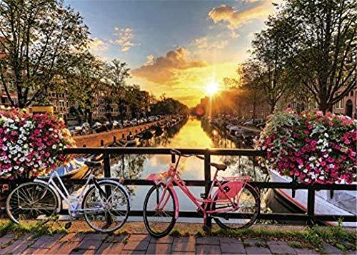 WOMGD® Jigsaw Puzzle 1000 stuk voor volwassenen, voor kinderen en volwassenen, houten gepersonaliseerde puzzel leuk spel, huisdecoratie - Amsterdam Sunrise,