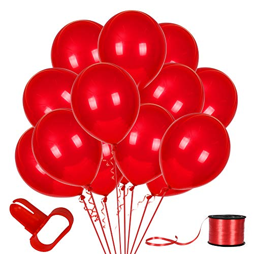 100Pack Red Balloons, 12inch Red Latex Balloons Premium Helium Quality Red Balloons for Party Supplies and Decorations(With Red Ribbon)