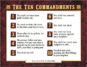 Ten Commandments King James Version: Wall Chart Small 8x10 Inches