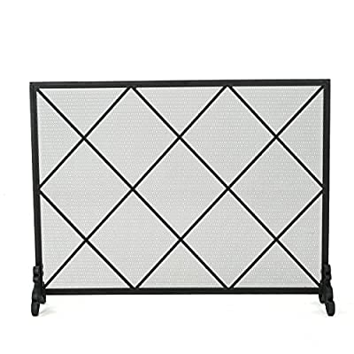 Christopher Knight Home Howell Single Panel Iron Fireplace Screen, Black by Great Deal Furniture