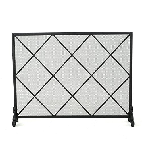 Christopher Knight Home Howell Single Panel Iron Fireplace Screen, Black