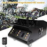 3 in 1 Mixed Wireless Remote Control Professional Fog and Bubble Machine with 9 LED Lights and Wireless Remote Controller DMX Stage Machine for Club, Party