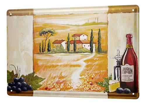 Blechschild Arkadiusz Warminski Bild Toskana Landhaus Landschaft Rotwein Trauben Flasche Käse 20x30 cm Metallschilder Deko