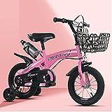 Bicicleta para niñas 12 14 16 18 pulgadas con ruedas de entrenamiento para 2 – 9 años 12 pulgadas, 14, 16, 18 pulgadas, marco de red + auxiliar negro, rosa, 40,6 cm