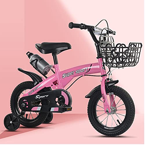 Bicicleta para niñas 12 14 16 18 pulgadas con ruedas de entrenamiento para 2 – 9 años de edad 12 pulgadas, 14, 16, 18 pulgadas, marco de red + auxiliar negro, rosa, 45,7 cm