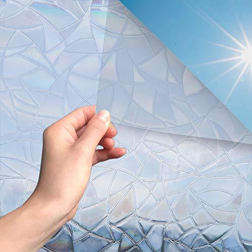 MARAPON® Sichtschutzfolie Fenster Regenbogeneffekt [105x200 cm] inkl. eBook mit Profitipps - statische Haftung - Fensterfolie selbsthaftend Blickdicht - 3D Dekorfolie Milchglasfolie