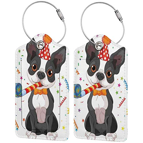 Leather Travel Luggage Tags,Fun Boston Terrier Dog Printed Travel Id Labels,Business Card Holder,Suitcase Labels,Travel Accessories,with Privacy Cover Stainless Steel Ring
