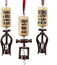 Kurt Adler 1 Set 3 Assorted Wine Corkscrew Resin Ornaments