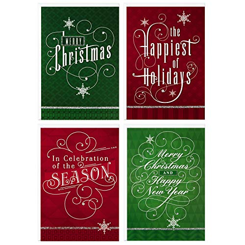 Image Arts Boxed Christmas Cards Assortment, Elegant Lettering (4 Designs, 24 Cards with Envelopes)