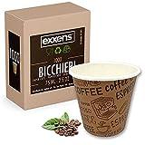 Exxens 1000 Stück Kaffeetassen, 75 ml, biologisch abbaubar, aus Papier, Bio-Einweg- und Einwegbecher (Exxens Braun, 75 ml)