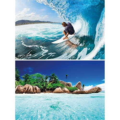 GREAT ART set de 2 posters XXL – Surfero al lado del mar - Surferos & islas Seychelles tabla de surf, ola palmeras trópico deporte extremo decoración de la pared foto (140 x 100cm)