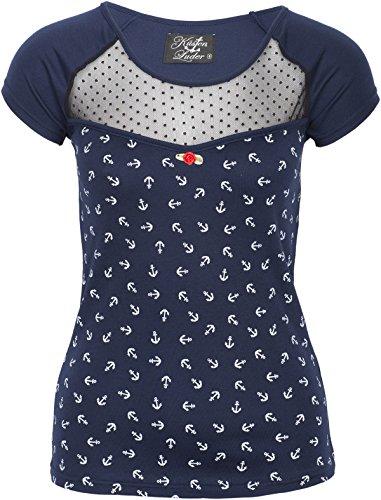 Küstenluder Damen Oberteil Mina Punkte Shirt (XL, Dunkelblau mit weißen Ankern)
