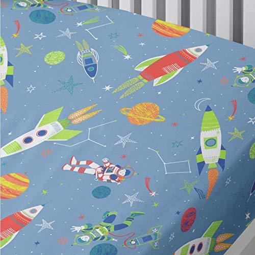 Bedlam SRCBE1DPGU - Lenzuolo con angoli per letto singolo, 52% Poliestere, 48% Cotone, Blu, 90 x 190 cm