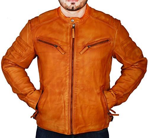 Superior Leather - Chaqueta de piel para hombre, acolchada, estilo Cafe Racer vintage