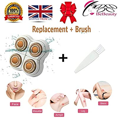BeBeauty Replacement Blade Heads Legs Women Hair Remover, Hair Remover Replacement Head with a Bracket for Legs, Arms, Ankles, Armpits As Seen On TV 4 Floating Heads Rose Gold by Yuyao Kaijia Electric Appliance Factory