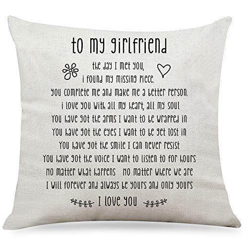"""Ihopes Best Girlfriend Quotes Pillow Covers - to My Girlfriend I Love You Pillow Case Cushion Cover for Sofa Couch Living RoomHome Decor - Best Girlfriend Gifts(18""""x 18""""Inch)"""
