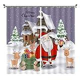 Cortinas Opacas Térmicas Aislantes Navidad de Dibujos Animados Tela De Poliéster Cortina Lavable para Dormitorio Y Salón Habitación Decoración Hogar (220x215cm
