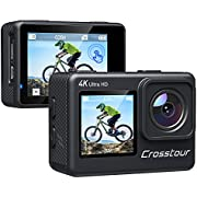 Action Camera 4K, Crosstour Underwater Cam EIS WiFi Dual Screens Remote Control 24MP Ultra HD Touch Screen Camera with LDC 4X Zoom Two Rechargeable Batteries and Upgraded Accessories Kits CT9300