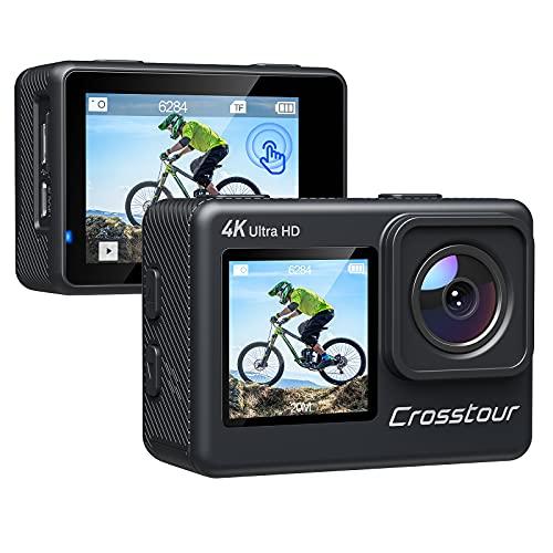 Crosstour Action Cam CT9300,4K Doppio Schermo Impermeabile 30M,Touch Screen 24MP Videocamere Subacquee,WiFi EIS Stabilizzata LDC 4X Zoom,Telecomando 2 Batterie con Accessori
