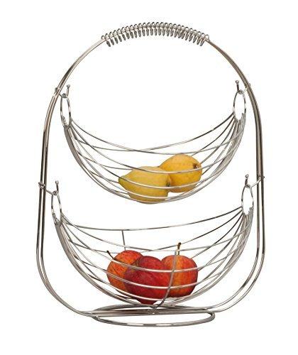 Lifestyle & More Corbeille à Fruits Panier à Fruits Étagère Bol à Fruits en métal Argent chromé 45 cm Haut
