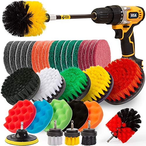 Holikme 37Piece Drill Brush Attachments Set,Scrub Pads & Sponge, Power Scrubber Brush with Extend Long Attachment All Purpose Clean for Grout, Tiles, Sinks, Bathtub, Bathroom, Kitchen,Yellow
