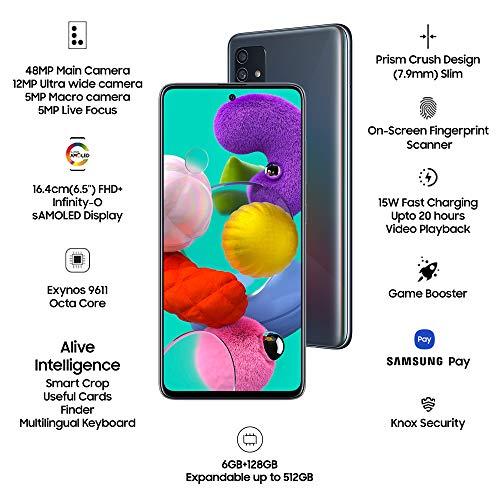 Samsung Galaxy A51 (Black, 8GB RAM, 128GB Storage) with No Cost EMI/Additional Exchange Offers