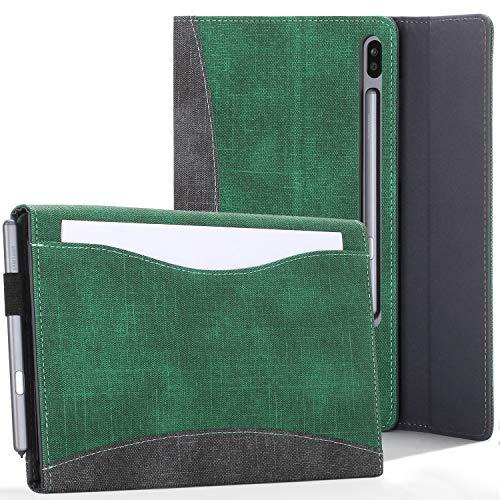 FC Funda para Samsung Galaxy Tab S6 10.5 - Protectora, Soporte Galaxy Tab S6 Funda y Bolsillo para Documentos - Verde - Bloqueo/Desbloqueo Automático, S-Pen y Carga Inalámbrica - Lápiz y Pantalla