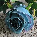 XFLOWR 5 Piezas Estilo Retro Artificial Bulgaria Rosa Rama Seda + plástico Flores Flores Falsas hogar Hotel decoración Boda decoración DIY Corona Azul