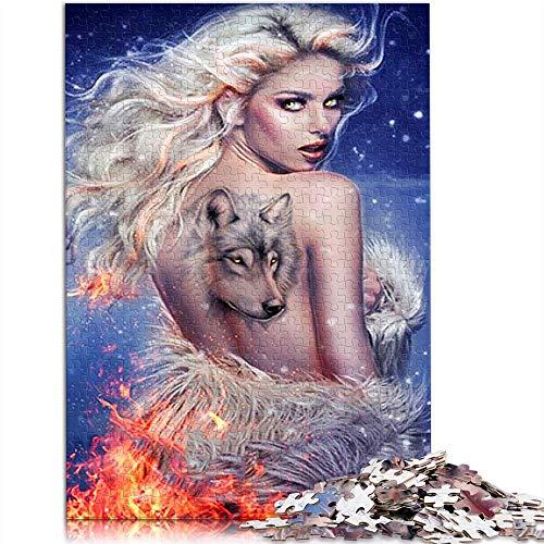 Puzzle para adultos rompecabezas de 1000 piezas Tatuaje de mujer halter con lobo ardiente Conjunto de rompecabezas familiar character Rompecabezas Juegos educativos para adultos y niños 52x38cm