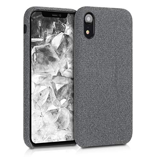 kwmobile Hülle kompatibel mit Apple iPhone XR - Stoff Hülle Handy Schutzhülle - Backcover Cover Grau