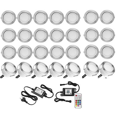 Faretto LED da incasso a LED RGB per illuminazione da pavimento, compatibile con Alexa, IFTTT, telefono intelligente Ø 45 mm, IP67, kit completo di downlight LED impermeabile (confezione da 20)