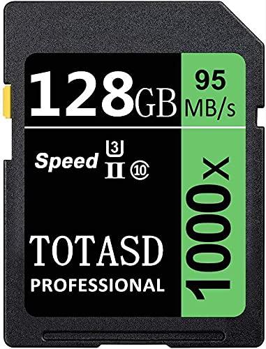 Tarjeta de memoria SDXC grande de 128 GB SDXC UHS-II SD Memory Card, Fecha Storage, U3 velocidad de hasta 95 MB/s para cámara réflex digital, cámara HD o cámara 3D (128 GB)
